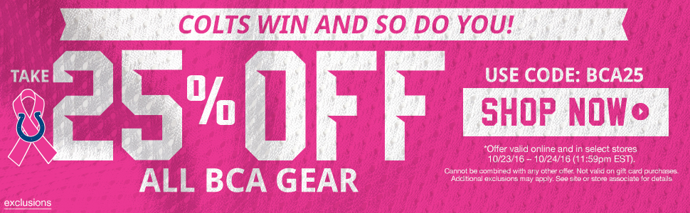 Save on Colts BCA gear!
